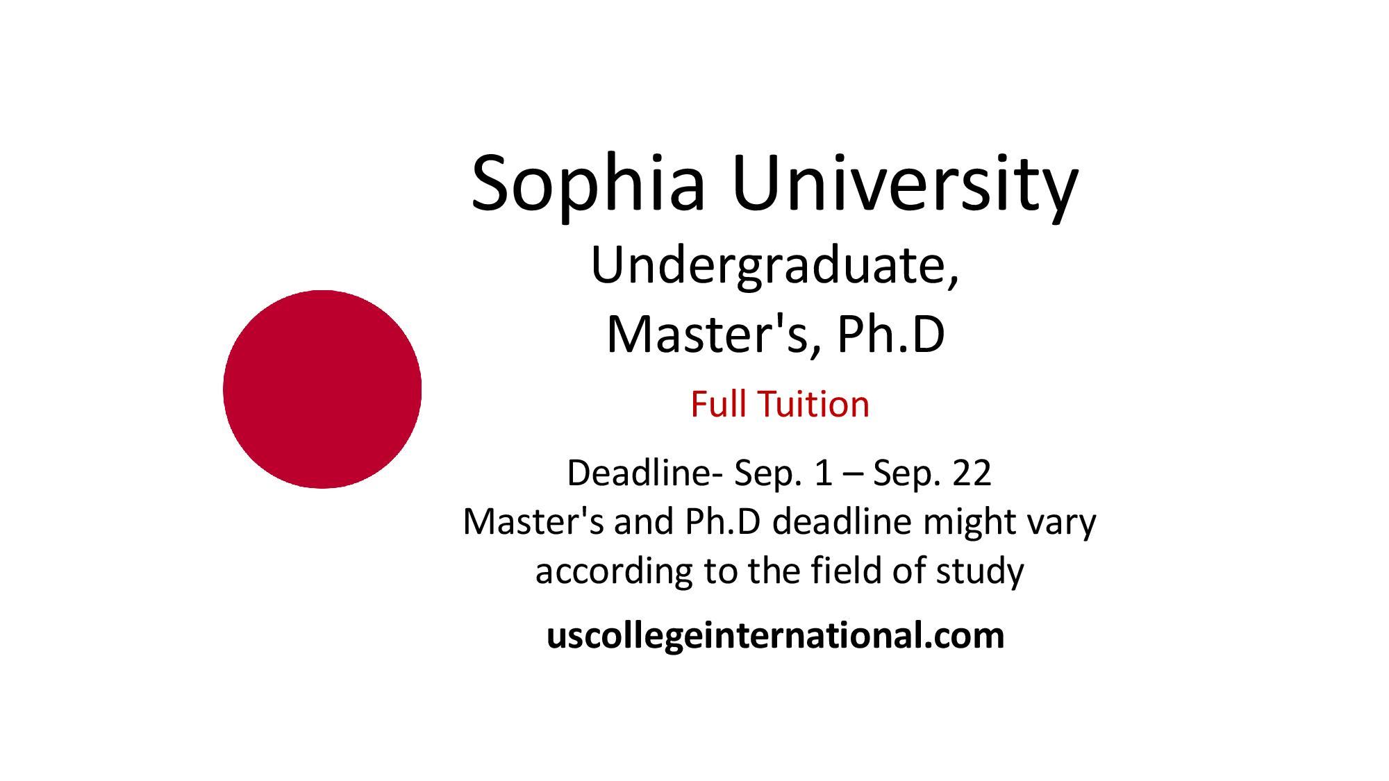 sophia university scholarships