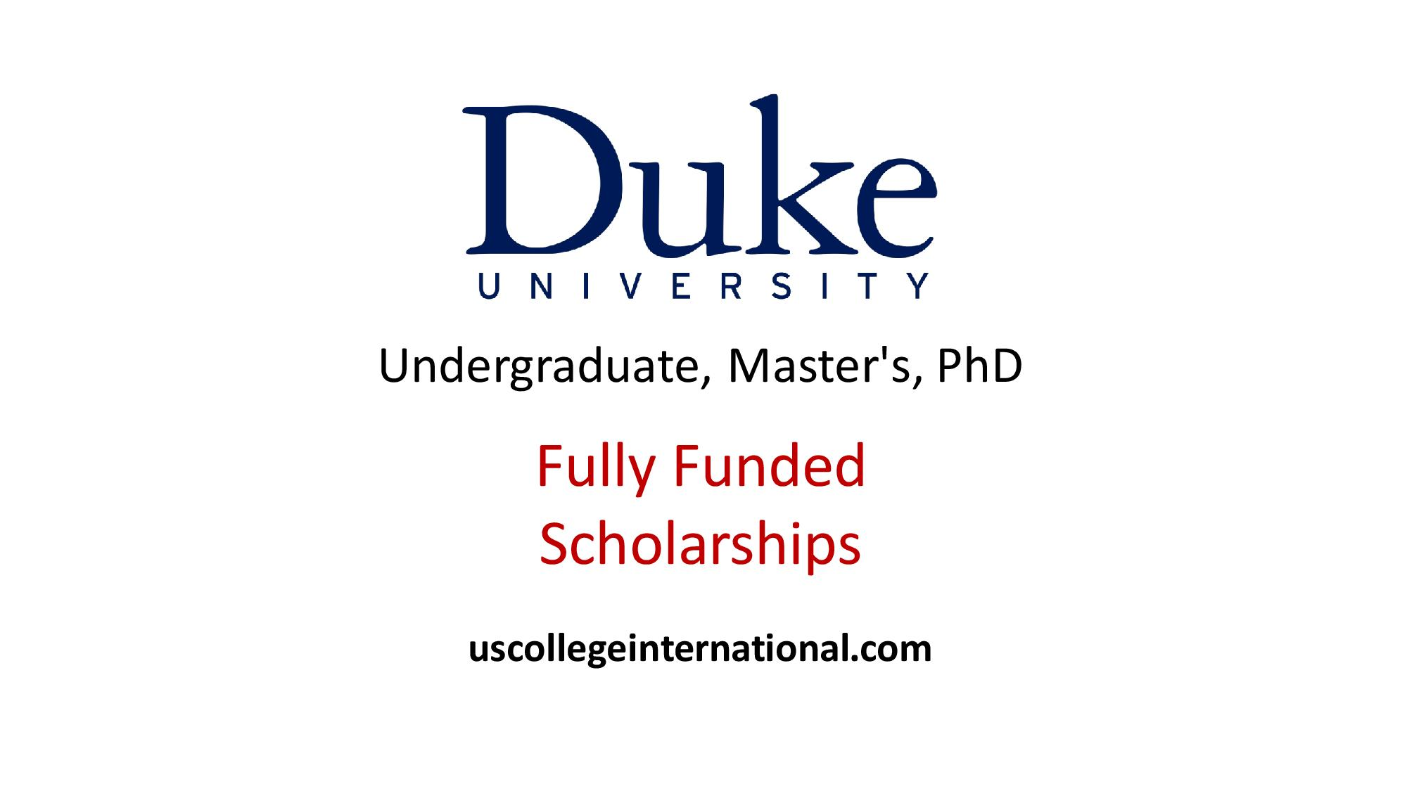 Duke University Scholarships 2019 (Full Ride) - Scholarships for